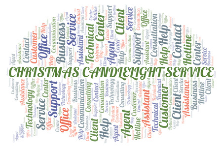 Christmas Candlelight Service word cloud. Wordcloud made with text only.