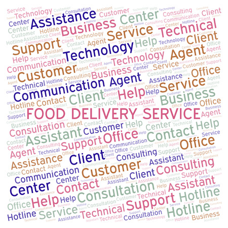 Food Delivery Service word cloud. Wordcloud made with text only.