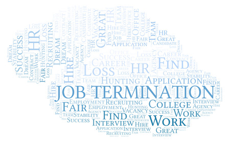 Job Termination word cloud. Wordcloud made with text only.