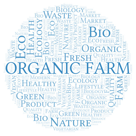 Organic Farm word cloud, wordcloud made with text only. Stock Photo