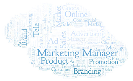 Word cloud with text Marketing Manager. Wordcloud made with text only.