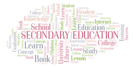 Secondary Education word cloud, wordcloud made with text only.