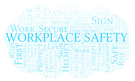 Workplace Safety word cloud. Word cloud made with text only. Stock Photo