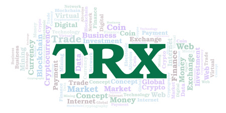 TRX or TRON cryptocurrency coin word cloud. Word cloud made with text only.