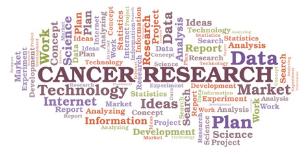 Cancer Research word cloud. Wordcloud made with text only.
