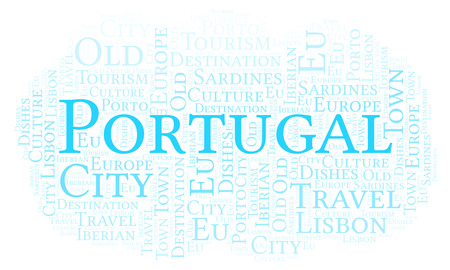 Word cloud with text Portugal. Wordcloud made with text only. Zdjęcie Seryjne