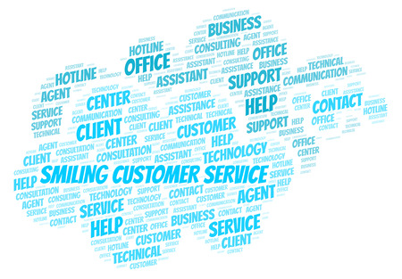 Smiling Customer Service word cloud. Wordcloud made with text only.