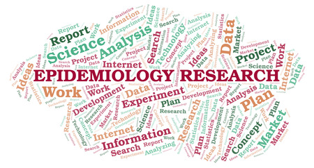Epidemiology Research word cloud. Wordcloud made with text only.