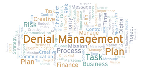 Denial Management word cloud, made with text only Stock Photo