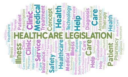 Healthcare Legislation word cloud. Wordcloud made with text only. Imagens