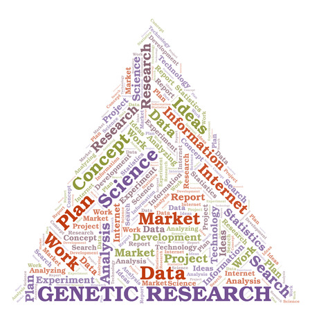 Genetic Research word cloud. Wordcloud made with text only. Stock Photo