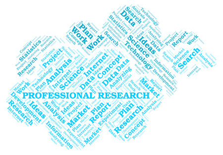 Professional Research word cloud. Wordcloud made with text only.
