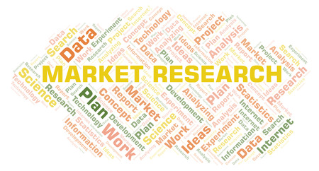 Market Research word cloud. Wordcloud made with text only. Stock Photo