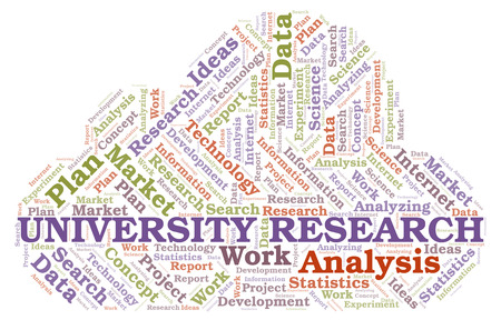University Research word cloud. Wordcloud made with text only. Stock Photo