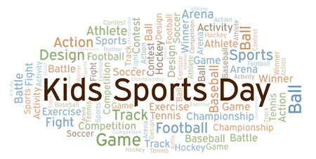 Kids Sports Day word cloud. Made with text only.