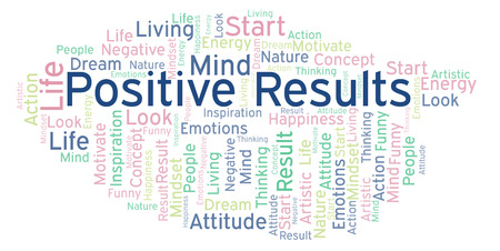 Positive Results word cloud, made with text only