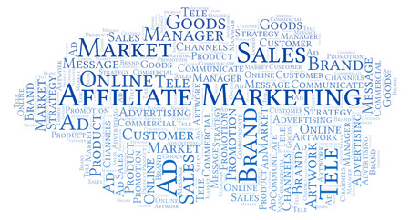 Word cloud with text Affiliate Marketing. Wordcloud made with text only. Stock Photo