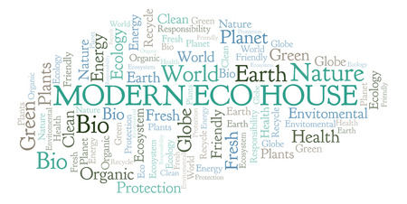 Modern Eco House word cloud. Wordcloud made with text only.