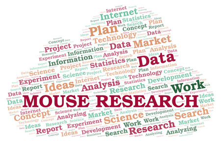 Mouse Research word cloud. Wordcloud made with text only. Stock Photo
