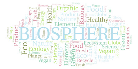Biosphere word cloud. Wordcloud made with text only.