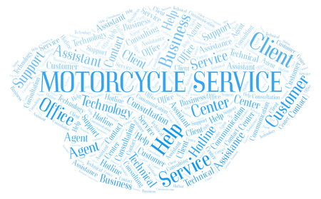 Motorcycle Service word cloud. Wordcloud made with text only. Stock Photo