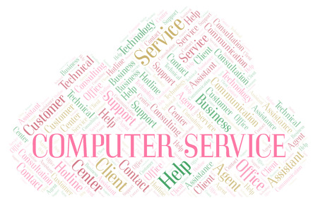 Computer Service word cloud. Wordcloud made with text only. Stock Photo