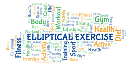 Elliptical Exercise word cloud. Wordcloud made with text only.