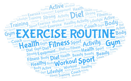 Exercise Routine word cloud. Wordcloud made with text only. Stok Fotoğraf