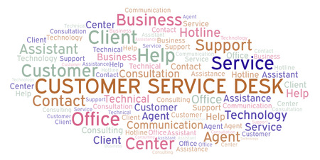 Customer Service Desk word cloud. Wordcloud made with text only. Stok Fotoğraf