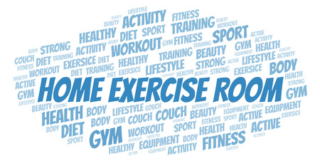 Home Exercise Room word cloud. Wordcloud made with text only.