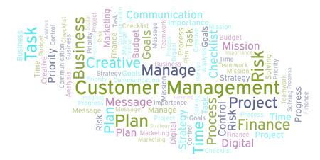 Customer Management word cloud, made with text only