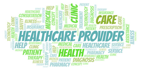 Healthcare Provider word cloud. Wordcloud made with text only.