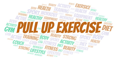Pull Up Exercise word cloud. Wordcloud made with text only.
