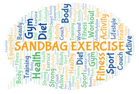 Sandbag Exercise word cloud. Wordcloud made with text only.