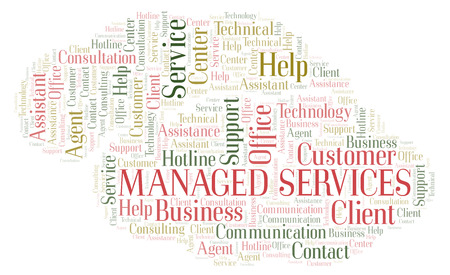 Managed Services word cloud. Wordcloud made with text only.