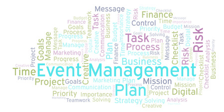 Event Management word cloud, made with text only