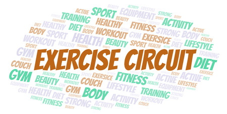 Exercise Circuit word cloud. Wordcloud made with text only.