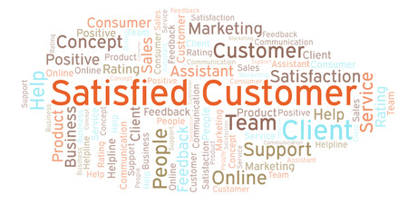 Satisfied Customer word cloud. Made with text only.