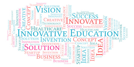 Innovative Education word cloud, made with text only Stock Photo