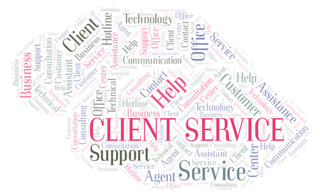 Client Service word cloud. Wordcloud made with text only.