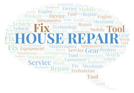House Repair word cloud. Wordcloud made with text only. Banco de Imagens