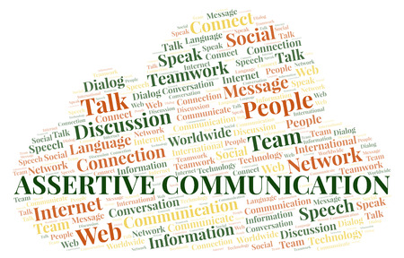 Assertive Communication word cloud. Wordcloud made with text only. Stockfoto