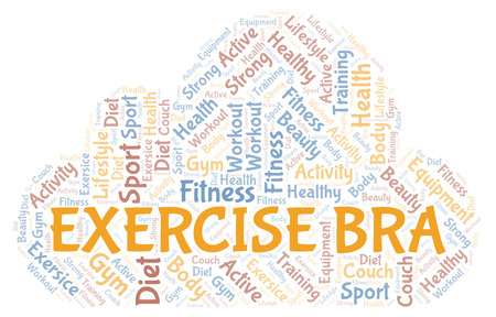 Exercise Bra word cloud. Wordcloud made with text only.