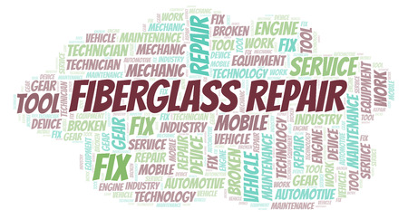 Fiberglass Repair word cloud. Wordcloud made with text only.