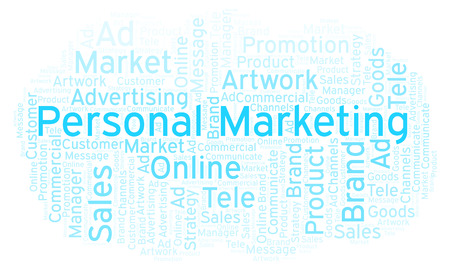 Word cloud with text Personal Marketing. Wordcloud made with text only.