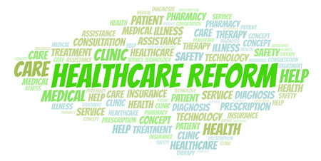 Healthcare Reform word cloud. Wordcloud made with text only. Stock Photo