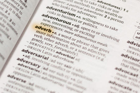 The word or phrase Adverb in a dictionary highlighted with marker. Stok Fotoğraf
