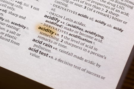 The word or phrase Acidity in a dictionary highlighted with marker.