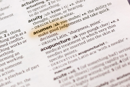 The word or phrase Acumen in a dictionary highlighted with marker. Фото со стока