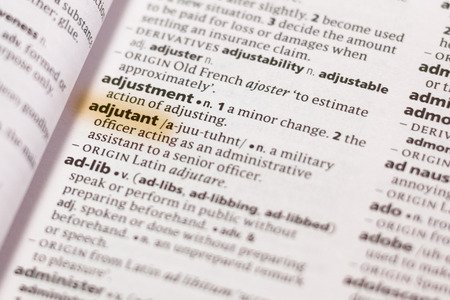 The word or phrase Adjutant in a dictionary highlighted with marker. 写真素材